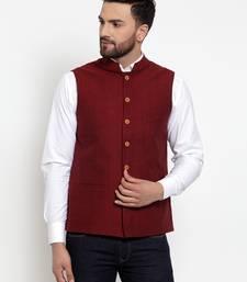 Maroon Plain Cotton Nehru Jacket