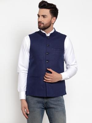 Blue plain woollen nehru-jacket
