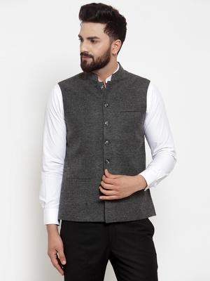 Grey plain woollen nehru-jacket