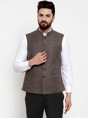 Grey plain woollen nehru-jacket