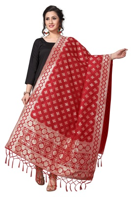 Red Jacquard Silk Women's Dupatta With Zalor.