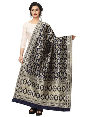 Navy Blue Jacquard Silk Women's Dupatta.