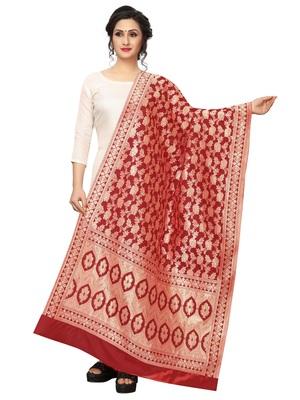 Red Jacquard Silk Women's Dupatta.