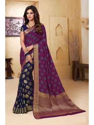 blue woven Chiffon saree with blouse