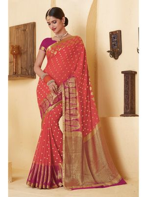 Peach woven Chiffon saree with blouse