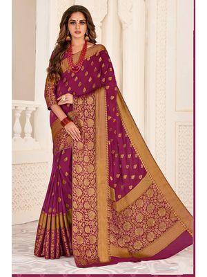Purple Woven Chiffon Saree With Blouse