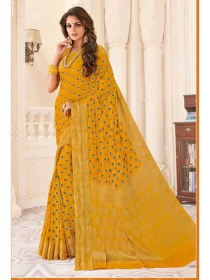 Yellow woven Chiffon saree with blouse