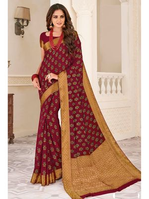 Maroon Woven Chiffon Saree With Blouse