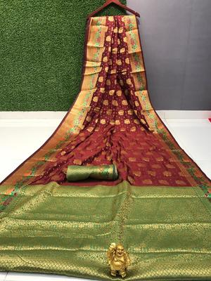 WOMENS DESIGNER  BANARASI  SAREE WITH DESIGNER BLOUSE