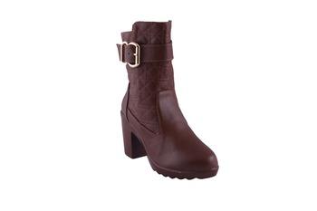 Women brown  block zipper  heel Boots