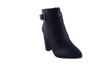 Women  Black  block zipper  heel Boots