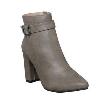 Women  Grey  ankle zipper  block heel Boots