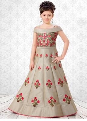Beige embroidered dupion silk kids-girl-gowns