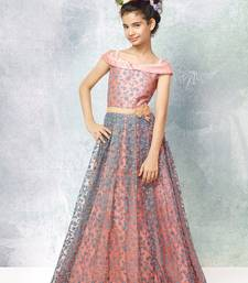 Pink embroidered silk kids-girl-gowns