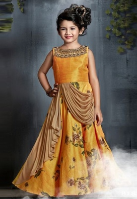 Yellow printed fancy fabric kids-girl-gowns