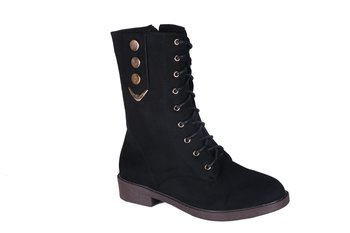 Women  Synthetic Black  calf lace up Boots