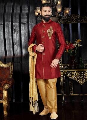 Maroon embroidered art silk kurta-pajama