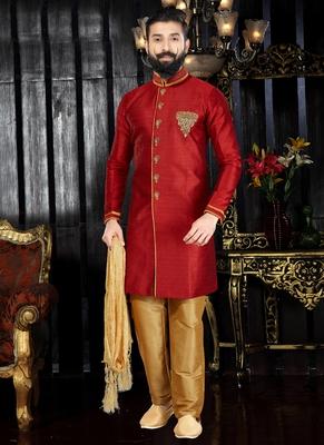 Red embroidered art silk kurta-pajama