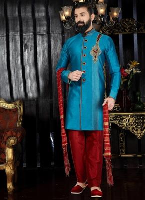 Blue embroidered art silk kurta-pajama