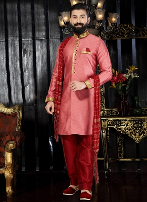 Pink embroidered art silk kurta-pajama