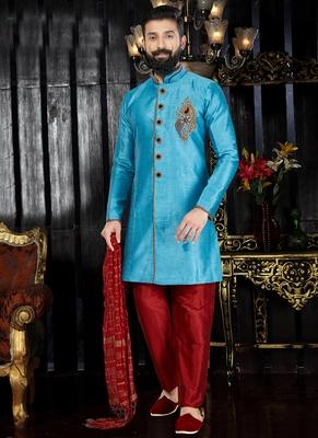 Blue embroidered art dupion silk kurta-pajama