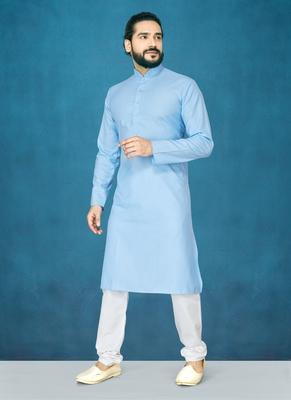 Blue plain cotton poly kurta-pajama
