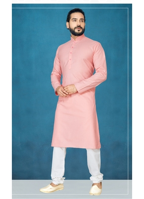 Pink plain cotton poly kurta-pajama