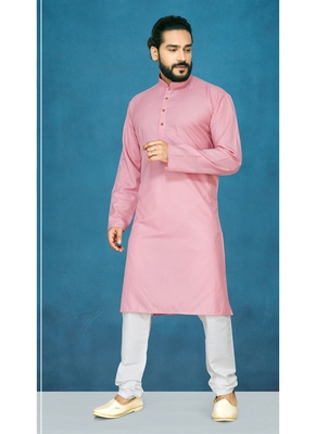 Pink plain cotton poly kurta-pajama