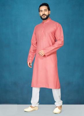 Red plain cotton poly kurta-pajama