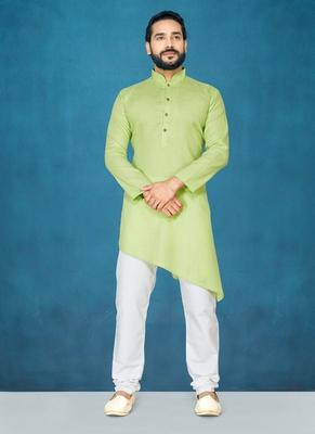 Green plain cotton poly kurta-pajama