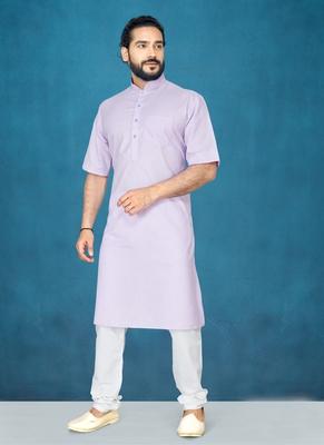 Purple plain cotton poly kurta-pajama