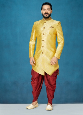 Yellow woven south silk indo-western-dresses