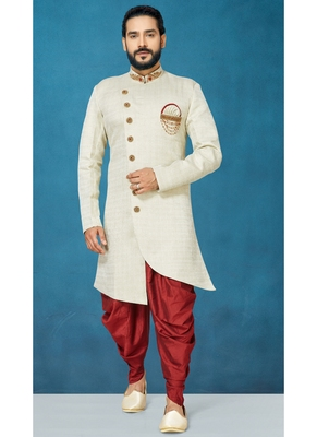 White woven jacquard indo-western-dresses