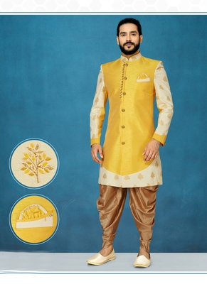 Yellow woven jacquard indo-western-dresses