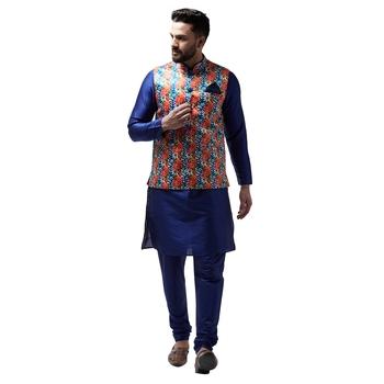 Blue Plain Dupion Silk Kurta Pajama