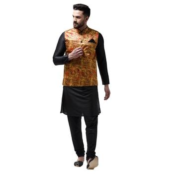 Black plain dupion silk kurta-pajama