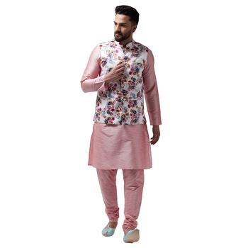 Pink plain dupion silk kurta-pajama