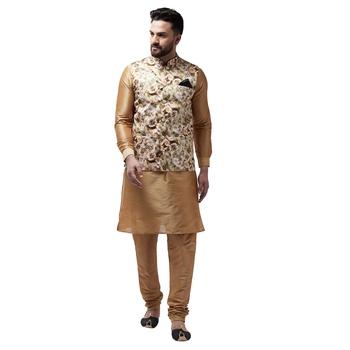 Gold plain dupion silk kurta-pajama