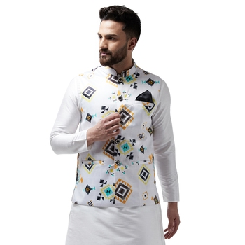 White printed satin nehru-jacket