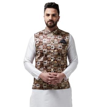 Brown Printed Satin Nehru Jacket