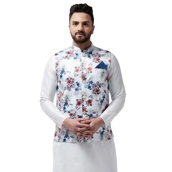 White Printed Satin Nehru Jacket