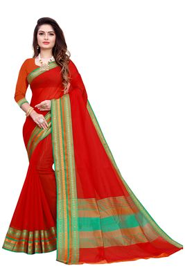 Red plain manipuri silk saree with blouse