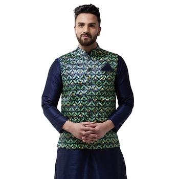 Blue printed satin nehru-jacket