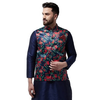 Blue Printed Satin Nehru Jacket