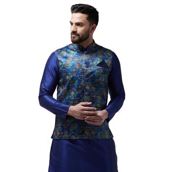 Blue Printed Satin Nehru Jacket