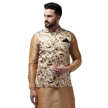 Beige printed satin nehru-jacket