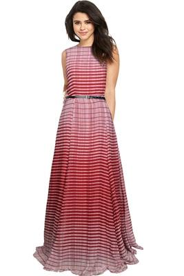 Maroon printed georgette maxi-dresses