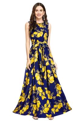 Blue printed crepe maxi-dresses