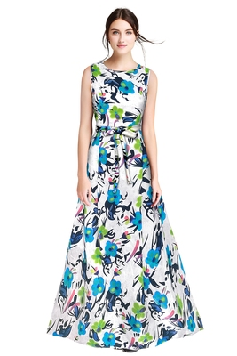 Green printed silk blend maxi-dresses