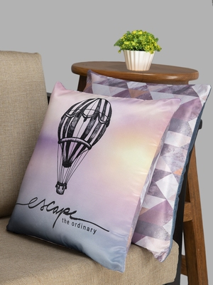 HOUZZCODE Purple Set of 2 Quirky Square Cushion Covers